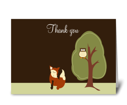 Fox and Owl Woodland Thank you greeting card
