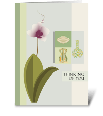 Orchid and Vases Thinking of You greeting card