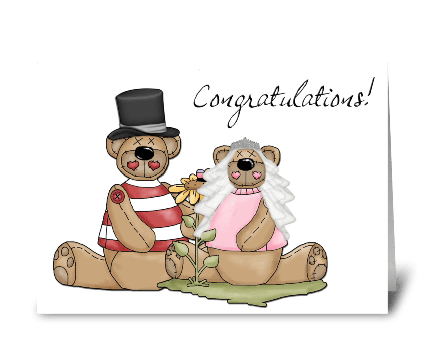 Bride Groom Bears, Congratulations greeting card