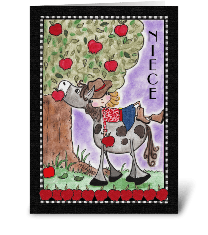 Birthday for Niece-Girl on Horse greeting card