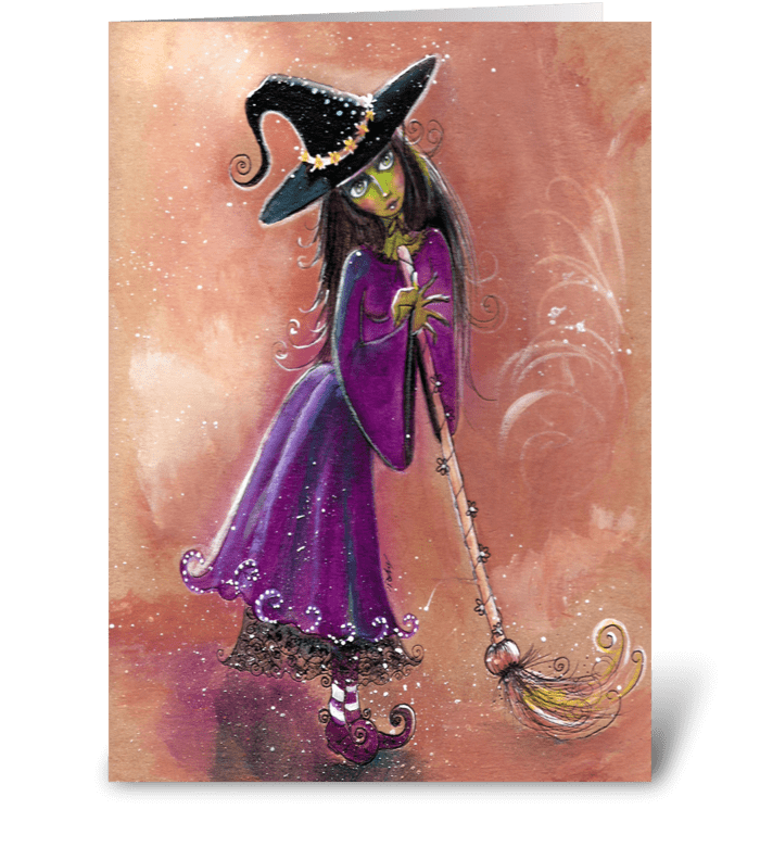 Whimsical Witch and Broom , Greetings greeting card