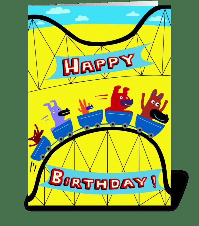 Roller Coaster Birthday greeting card