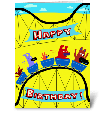 Roller Coaster Birthday greeting card