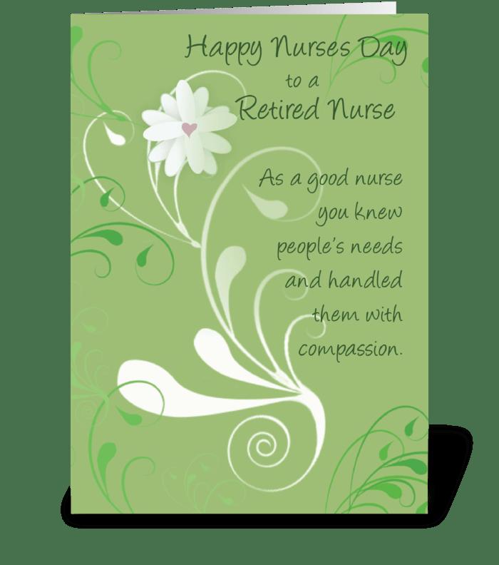 Nurses Day, Retired Nurse Thank You greeting card