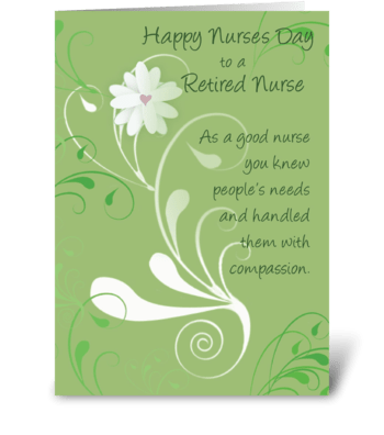 Nurses Day, Retired Nurse Thank You greeting card
