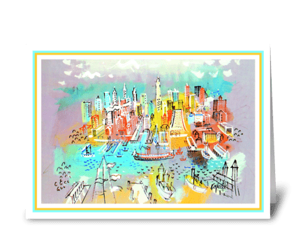 Gotham Waterfront by Charles Cobelle greeting card