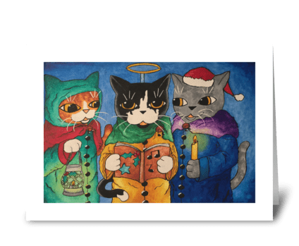 Christmas Carol Singer Cats greeting card