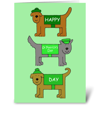 Happy St. Patrick's Day, Cartoon Dogs. greeting card