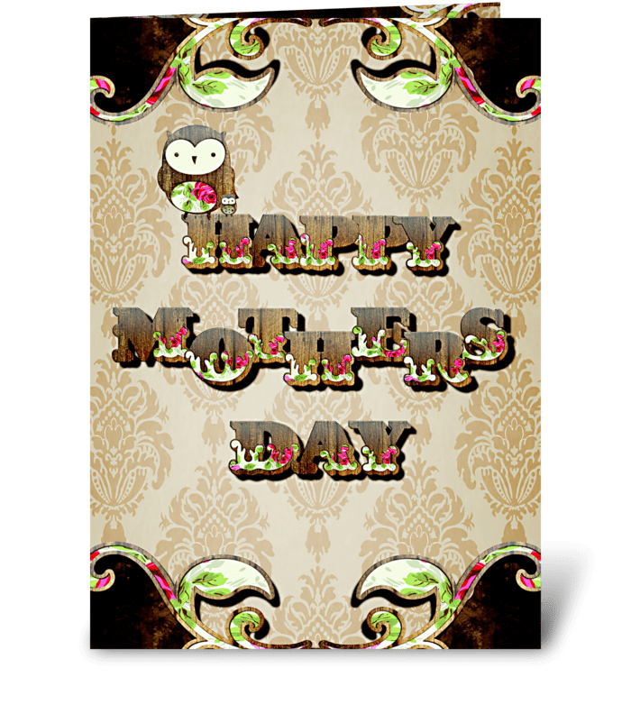 Vintage Owl Mother's Day greeting card
