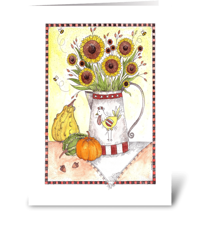 Fall Harvest Sunflowers greeting card