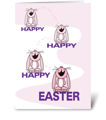 Happy Easter Bunnies greeting card