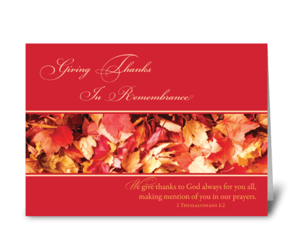 In Remembrance Thanksgiving Leaves greeting card