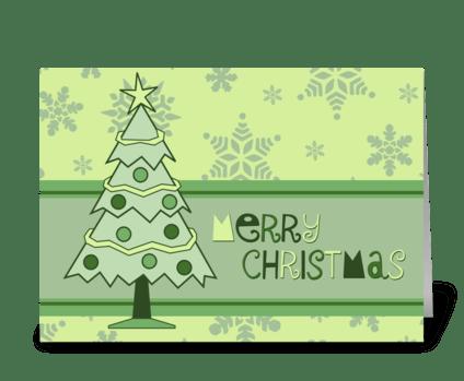 Modern Christmas Tree Merry Christmas greeting card