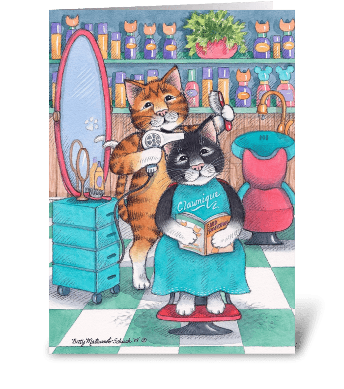 Hair Salon Cats Happy Birthday #58 greeting card