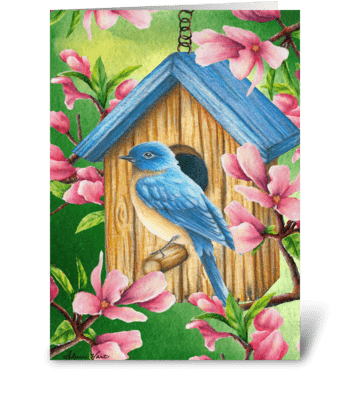 Sweet Spring Bluebird greeting card