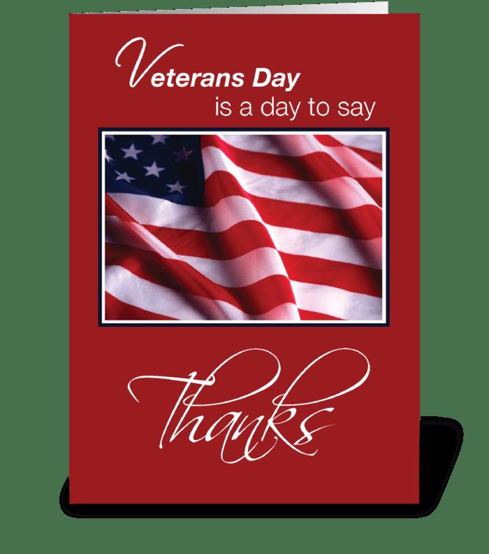 Veterans Day Patriotic American Flag greeting card
