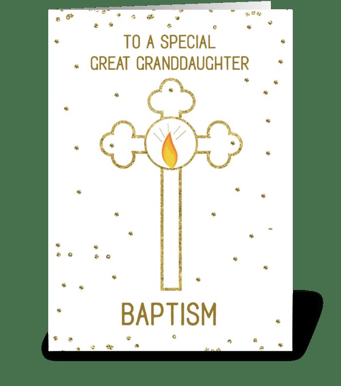 Great Granddaughter Baptism Gold Cross greeting card