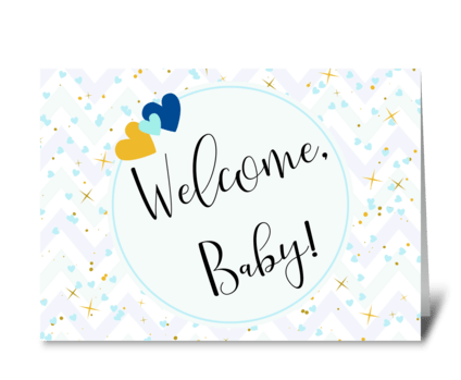 Pale blue baby card greeting card