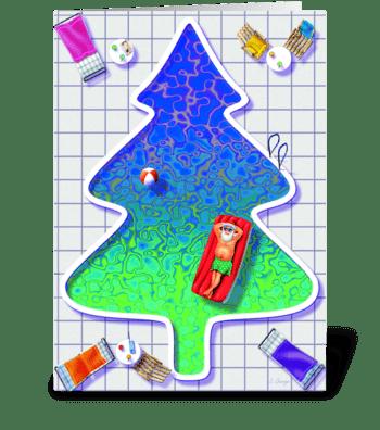 Sunning santa greeting card