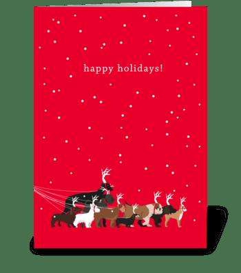 Holiday Dog Walk greeting card