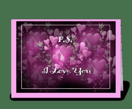 P.S., I love you, Valentine Card greeting card