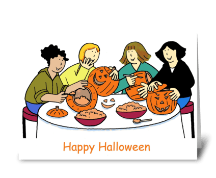 Girls carving pumpkins, Happy Halloween. greeting card