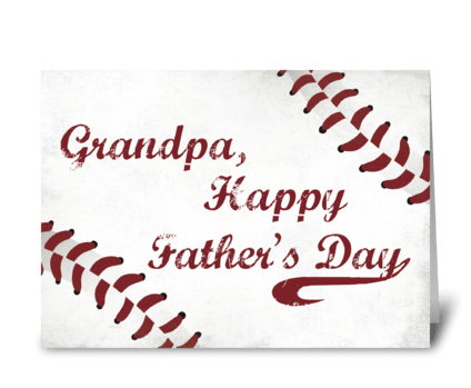 Grandpa Father's Day Grunge Baseball greeting card