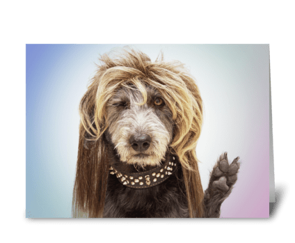 Funny Hippy Dog Healing Greeting greeting card