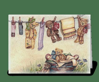 """Laundry Bears"" greeting card"