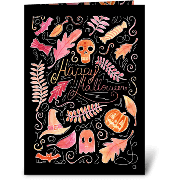 Watercolor Halloween greeting card