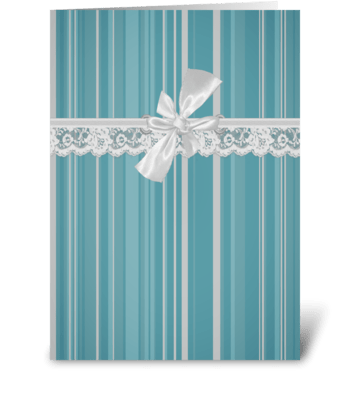 Aqua Stripe Vintage Lace  greeting card