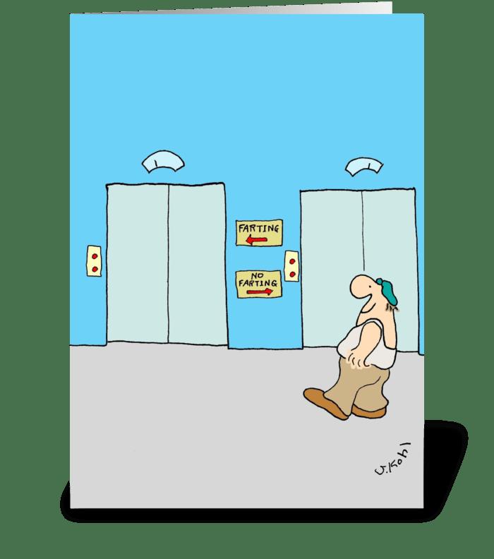 Elevators greeting card
