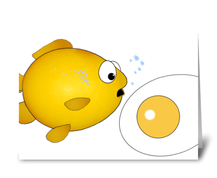 Fish and fried egg greeting card
