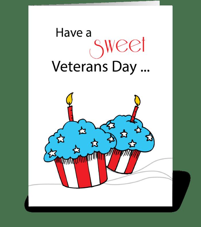 Veterans Day Patriotic Cupcakes greeting card