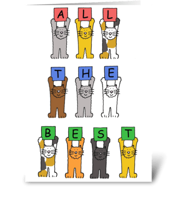 Retirement cartoon cats. greeting card