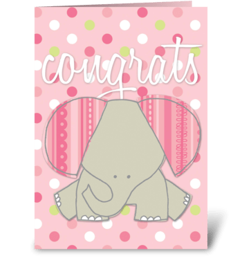 Baby Girl- Elephant greeting card