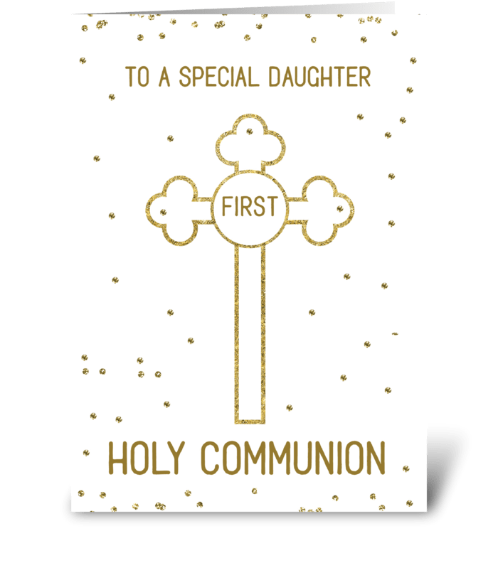 Daughter First Holy Communion Gold Look  greeting card