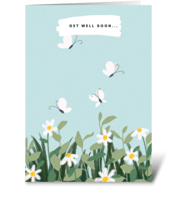 Baby Blue Floral Design greeting card