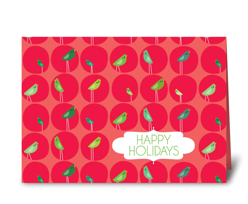 Happy Holiday Birds greeting card