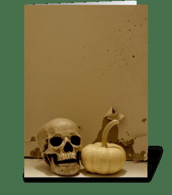 Skull & Pumpkin greeting card