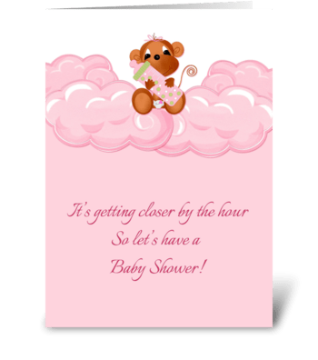 Pink Clouds, Monkey Baby Shower Invite greeting card