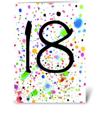 Funky 18th card, 18th Birthday greeting card