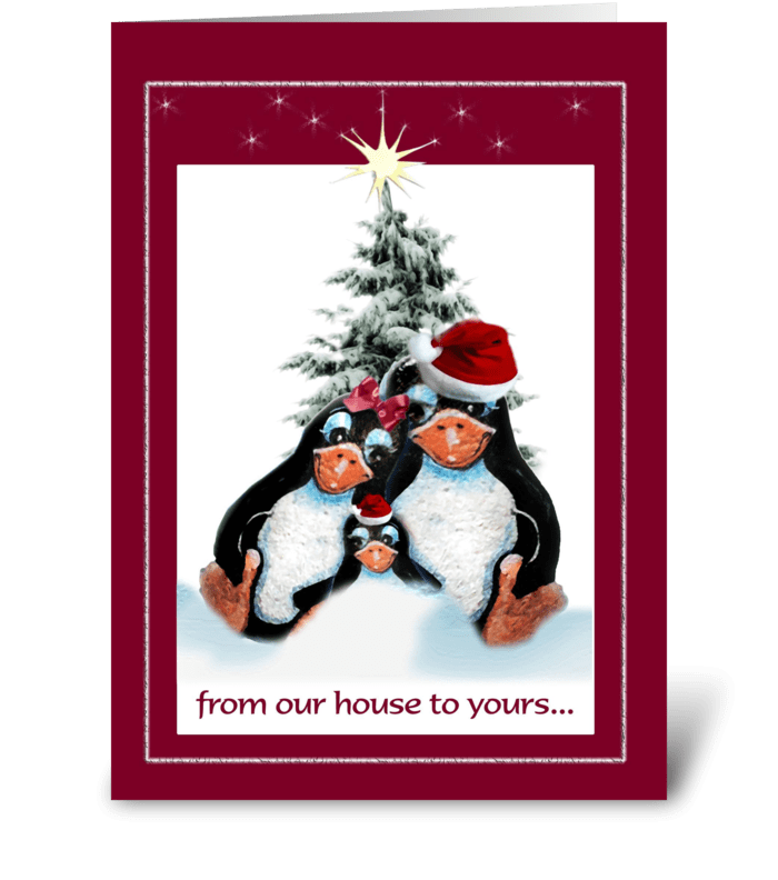 Penguins Holiday Greetings greeting card