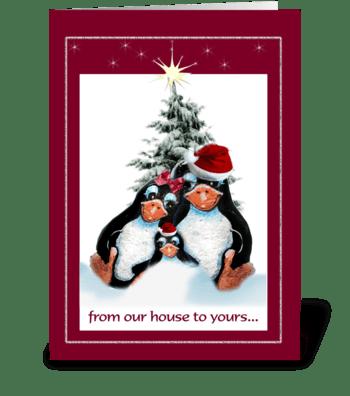 Penguins Holiday Greetings greeting card
