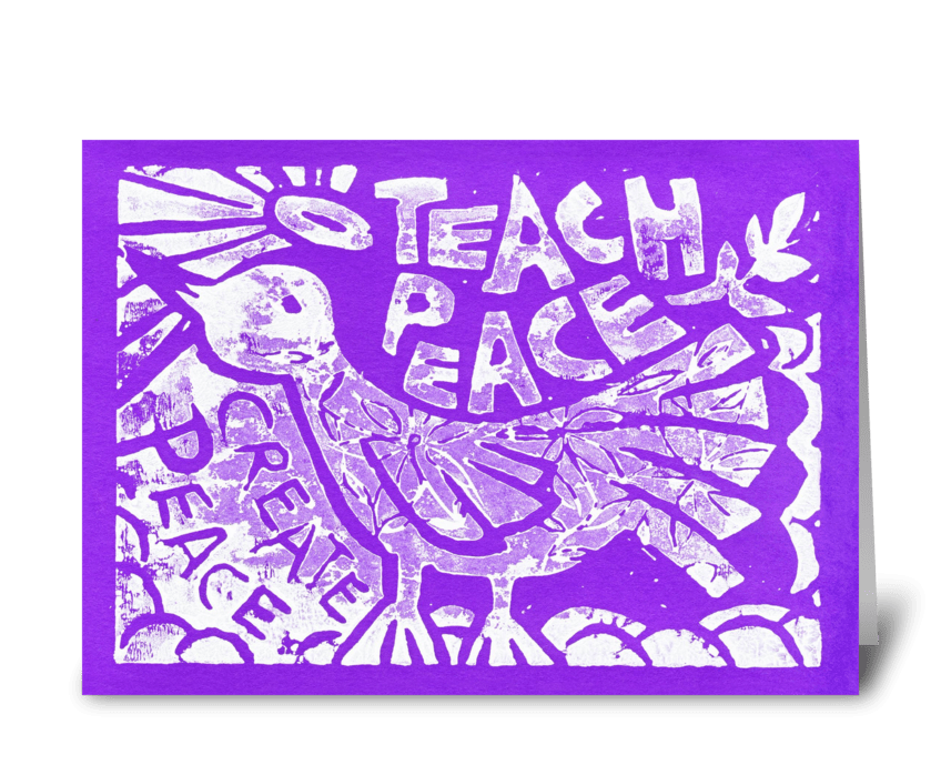 Teach Peace (Purple) greeting card