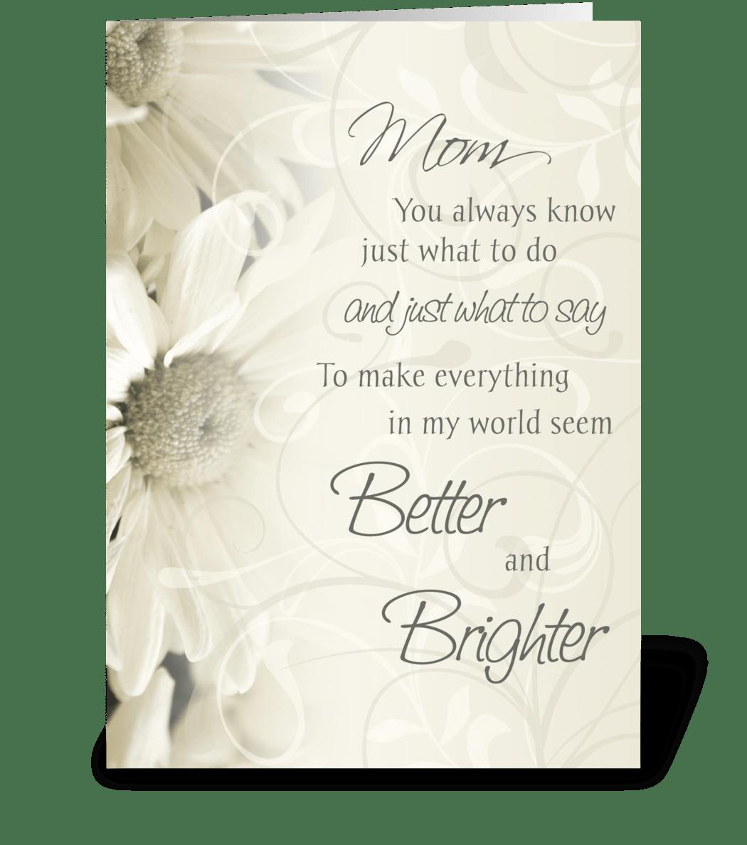 happy birthday mom white flowers  send this greeting card