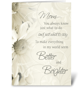 Happy Birthday Mom White Flowers greeting card