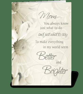 Happy Birthday Mom White Flowers greeting card