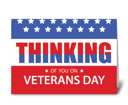 Veterans Day Patriotic Military Thinking greeting card