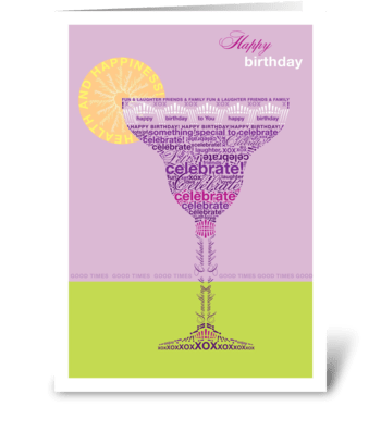 Birthday Cocktail Purple greeting card